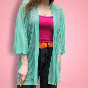 Lularoe Mint Green Lindsay sheer Cardigan Kimono